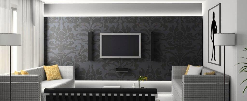 Wohnzimmer mit moderner Tapete in schwarz und weiß